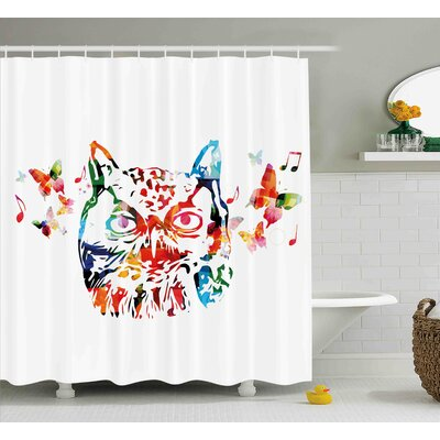 Laura Animal Rainbow Colored Abstract Wild Birds Owl With Music Notes and Butterflies Image Art Shower Curtain Size: 69 W x 70 H