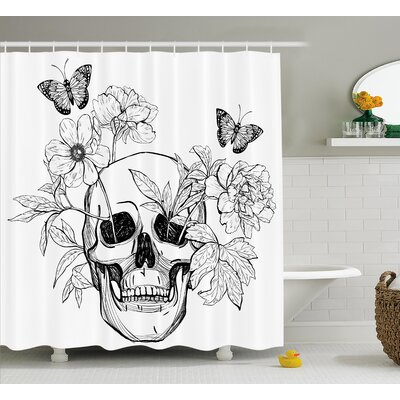 Yula Day of The Dead Skull With Flower Blooms and Butterflies Vintage Gothic Print Shower Curtain Size: 69 W x 70 H