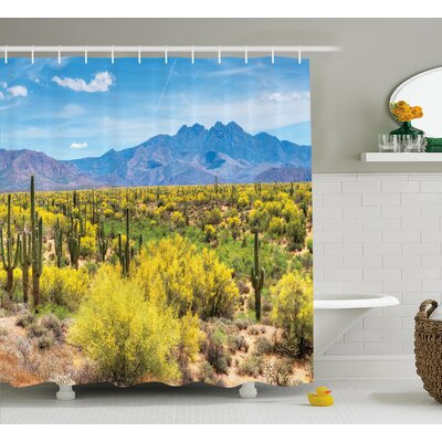 Bahraoui Photo Image Landscape of Desert Field of Cactus Stones Spikes Leaves Artwork Shower Curtain Size: 69 W x 70 H