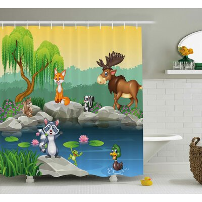 Dollie Cartoon Funny Mascots Animals By The Lake Moose Fox Squirrel Raccoon Kids Nursery Theme Shower Curtain Size: 69 W x 70 H