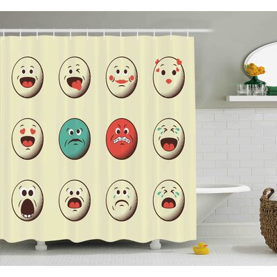 Audra Emoji Cartoon Like Vintage Old Smiley Faces With Angry Sad Nervous Mood Expression Print Shower Curtain Size: 69 W x 70 H