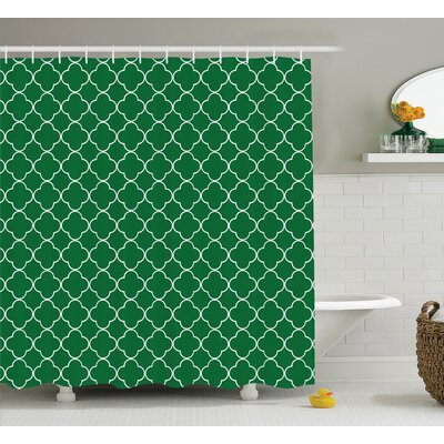 Timberlane Quatrefoil Four Leaf Clover on Moroccan Trellis Mosaic Digital Print House Cafe Decor Shower Curtain Size: 69 W x 70 H