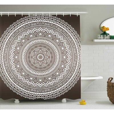 Luca Brown Mandala Pattern and Ombre Detailed Round Flower Art With Ethnic Accents Print Shower Curtain Size: 69 W x 70 H