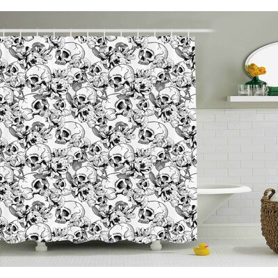 Keels Day of The Dead Festive Celebration Mexican Spanish Sketch Dead Skulls Art Print Shower Curtain Size: 69 W x 70 H
