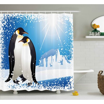 Winter Cute Penguins on Iceland At Arctic Snowy Frozen Climate Kids Illustration Shower Curtain Size: 69 W x 70 H