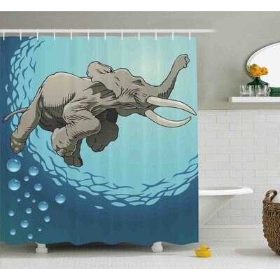 Dona Animal Cute Giant Elephant Swimming Shower Curtain Size: 69 W x 70 H