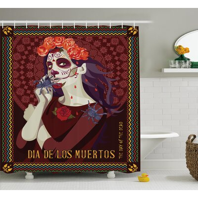 Deana Day of The Dead Dia De Los Muertos Print Woman With Calavera Makeup Spanish Rose Art Shower Curtain Size: 69 W x 70 H