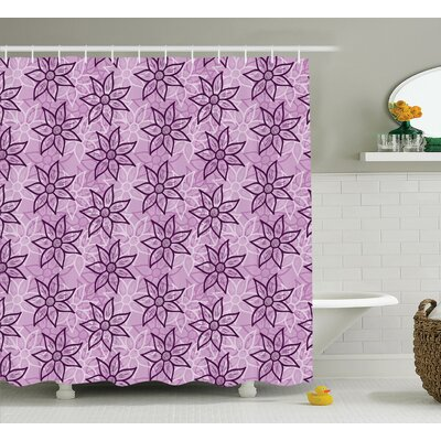 Eva Purple Macro Flower Design With Glamour Leaves Spring Floral Charm Hand Drawn Style Image Shower Curtain Size: 69 W x 84 H