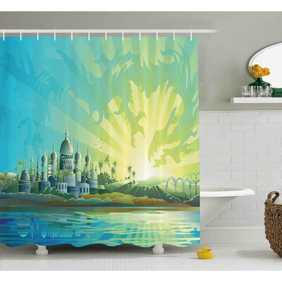 Kerry Cityscape Ancient Town With Historical Architecture Traditional Ethnic Image Shower Curtain Size: 69 W x 70 H