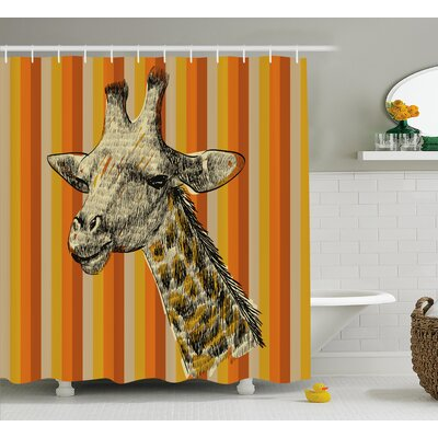 Breteuil Giraffe Sketch Style Image Portrait of Hipster African Animal Zoo Safari Wildlife Themed Art Shower Curtain Size: 69 W x 70 H