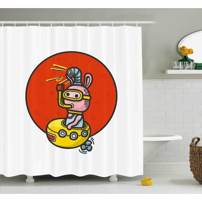 Jesse Yellow Submarine Little Alien Cartoon Shower Curtain Size: 69 W x 70 H