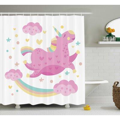 Cathy Girly Chubby Legendary Unicorn With Star Rainbow Funny Cartoon Kids Nursery Decor Shower Curtain Size: 69 W x 70 H