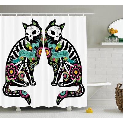 Nettie Day of The Dead Skeleton Cats Festive Celebration Spanish Art Print Shower Curtain Size: 69 W x 70 H