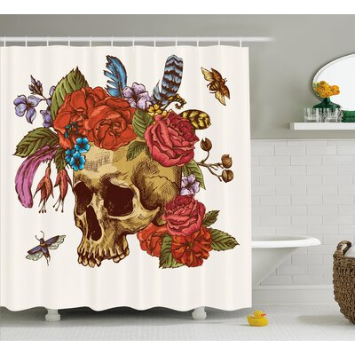 Zadie Day of The Dead Vintage Sugar Skull Bouquet of Flowers Feathers Blooms Bugs and Bees Shower Curtain Size: 69 W x 70 H
