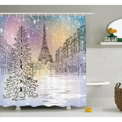 Louella Winter Ations Image of Stormy Winter Day Shower Curtain Size: 69 W x 70 H