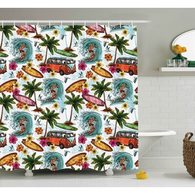 Tarra Ocean Hawaiian Decor Surfer on Wavy Deep Sea Retro Palms Flowers Surfing Boards Print Shower Curtain Size: 69 W x 70 H