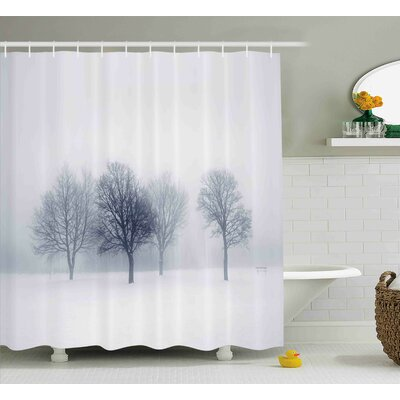 Katina Landscape Abstract View of Trees Forest Branches Leafless Winter Time Stormy Art Photo Shower Curtain Size: 69 W x 70 H