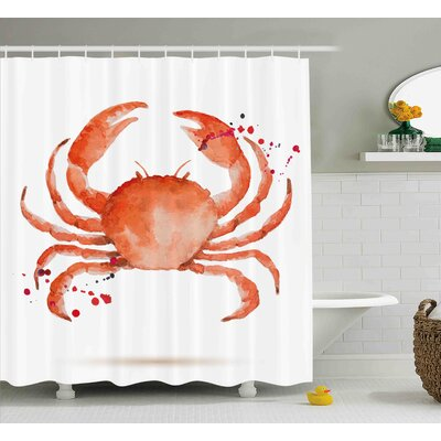 Bulger Crabs Sea Animals Theme Watercolor Style Effect a Big Crab on White Background Print Shower Curtain Size: 69 W x 70 H