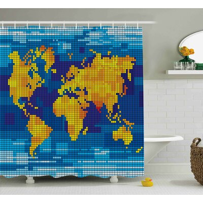 Brittany Digital Geometric Squared Modern World Print Global Universe Artwork Image Shower Curtain Size: 69 W x 70 H