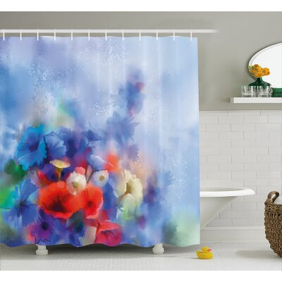 Carlson Hazy Paint of Nature Elements Botanic Floral Motives Artisan Shower Curtain Size: 69 W x 75 H