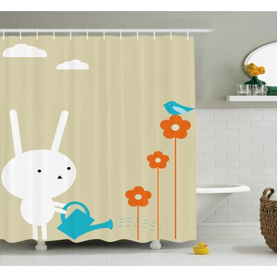 Megan Animal a Cute Bunny Watering The Dry Flowers a Little Bird and Clouds Pattern Shower Curtain Size: 69 W x 70 H
