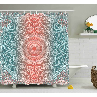 Devin Coral and Teal Modern Tribal Mandala Tibetan Healing Motif With Floral Geometric Ombre Art Shower Curtain Size: 69 W x 70 H
