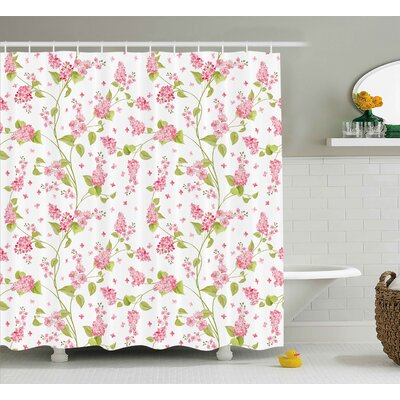 Tamar Shabby Elegance Nature Blossoms Buds Flowers Lavenders Leaves Ivy Artwork Shower Curtain Size: 69 W x 70 H