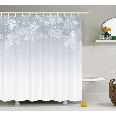 Winter Ations Christmas Back With Snowflake Figures and Fairy Stars Lights Magic Design Shower Curtain Size: 69 W x 70 H