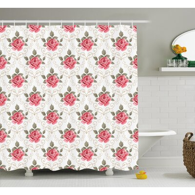 Charise Romantic Shabby Elegance Flowers Nature Shower Curtain Size: 69 W x 70 H
