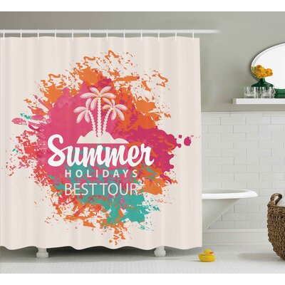 Anthony Quote Summer Holidays Best Tour Lettering With Palm Tree Island Rainbow Colored Image Shower Curtain Size: 69