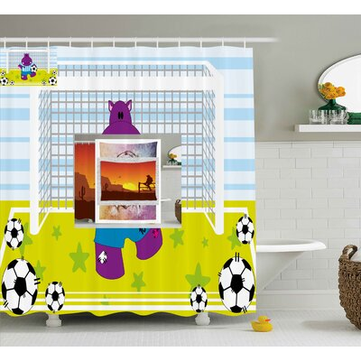 Doug Sports Cute Hippopotamus Soccer Goal Keeper Football Cartoon Print Shower Curtain Size: 69 W x 70 H