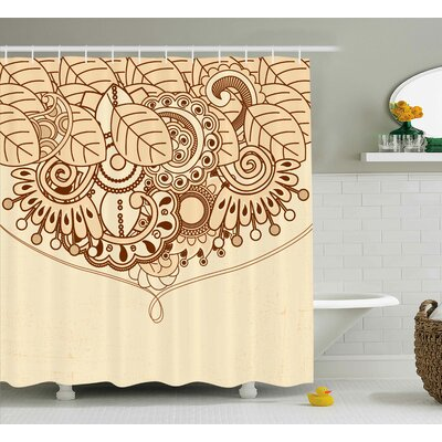 Angelina Sketchy Indian Asian Ethnic Design With Floral Oriental Leaves Like Lines Details Art Print Shower Curtain Size: 69 W x 70 H