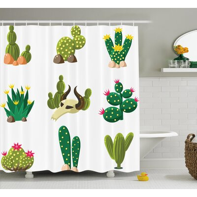 Pat Mexican South Desert Animals Cactus Plants Skeletons Flowers Cartoon Image Shower Curtain Size: 69 W x 70 H