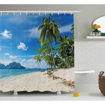 Phoebe Landscape Exotic Botanic Island Near Seashore Palms Mountains Clear Bright Sky Photo Shower Curtain Size: 69 W x 75 H