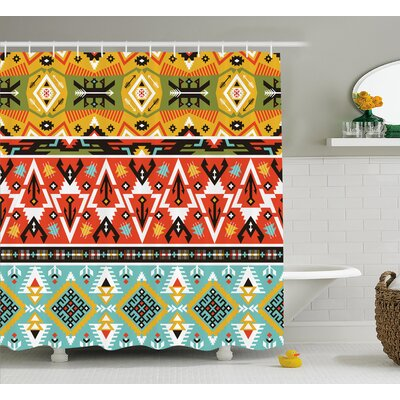Claire Tribal Love and Adventure Abstract Mountains Pattern With Aztec Indian Art Shower Curtain Size: 69 W x 70 H