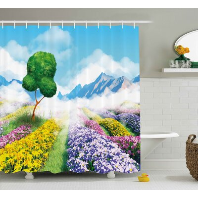 Zula Nature Print Cartoon Like Scenery of Flowers Trees Gardens and Mountains Artwork Shower Curtain Size: 69 W x 70 H