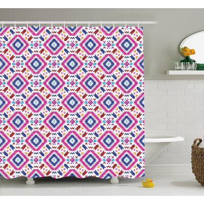 Meredith Tribal Hand Drawn Seamless Pattern With Ethnic Mayan Stripes Art Image Shower Curtain Size: 69 W x 70 H