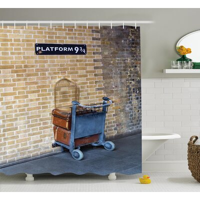 Barron Secret Way to The Train to Magical World Kings Cross Station Famous Landmark Picture Shower Curtain Size: 69 W x 70 H
