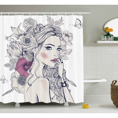 Laverne Portrait of a Beautiful Woman With Flowers on Her Hair and Butterflies Pattern Shower Curtain Size: 69 W x 70 H