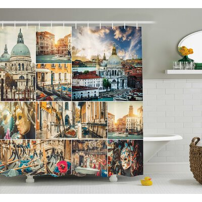 Ashtola Photo Collage Views of Venice City With Canal Cathedral and Palace Artwork Theme Shower Curtain Size: 69 W x 70 H