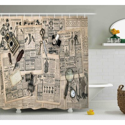 Leonide Clock Antique Accessories Design Old Fashion Magazine Sewing and Writing Tools Shower Curtain Size: 69 W x 70 H
