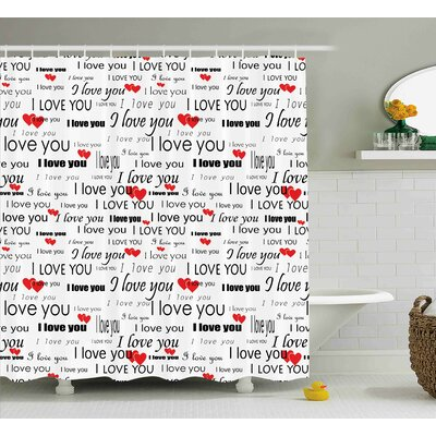Jacob Romantic I Love You Quote With Hearts Romance Couple Valentine With Plain Backdrop Shower Curtain Size: 69 W x 70 H