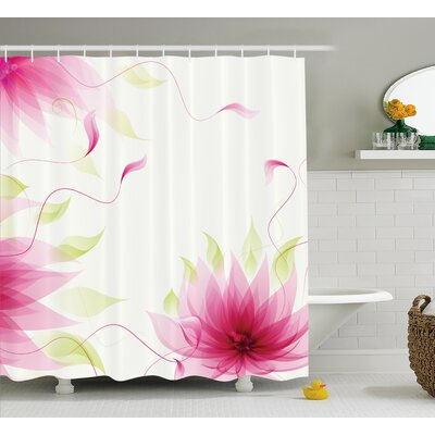Terry Ivy Flowers Leaves Abstract Natural Botanic Relaxing Lotus Design Print Shower Curtain Size: 69 W x 75 H