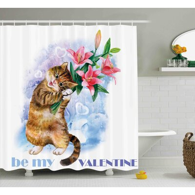 Dianne Be My Valentine Little Cute Baby Kitten With Garden Flowers Print Shower Curtain Size: 69 W x 70 H