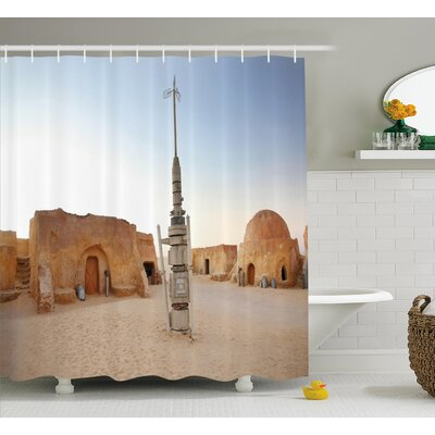 Freida Image of Fantasy Movie Set Town of Fantasy Planet Out of Space Galaxy Wars Themed Shower Curtain Size: 69 W x 70 H
