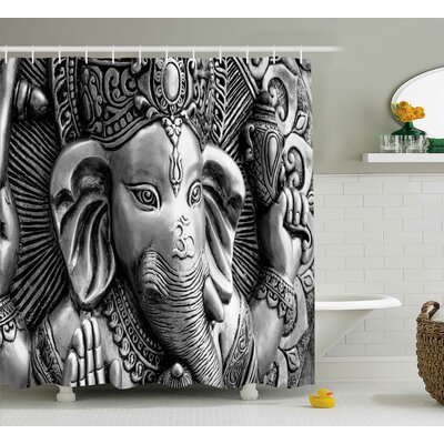 Jawhar Indian Elephant God Asian Religious Monument Cultural Picture Bohemian Style Art Print Shower Curtain Size: 69 W x 75 H