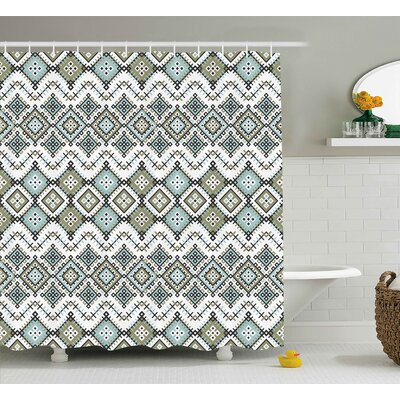 Tiana Ethnic Arabesque Geometric Pattern With Fractal Square Shapes Line Culture Art Shower Curtain Size: 69 W x 70 H