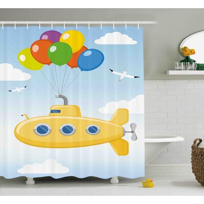 Jewel Yellow Submarine Blue Sky With Colorful Balloons Seagulls Clouds Nursery Kids Birds Art Shower Curtain Size: 69 W x 70 H