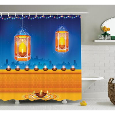 Parramatta Diwali Religious Celebration of India With Lights Candles and Night Scenery Print Shower Curtain Size: 69 W x 70 H
