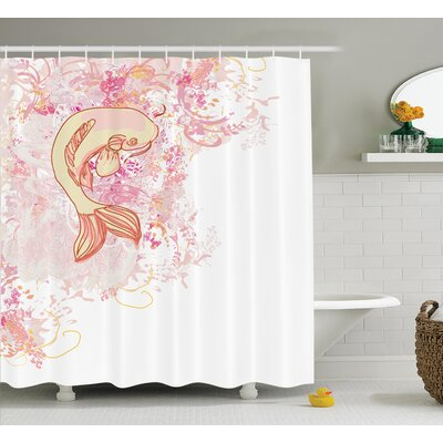 Oujda Japanese Asian Koi Fish on Classic Reflexive Splashed Love Themed Exotic Zen Decor Shower Curtain Size: 69 W x 70 H